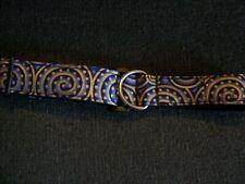 Greyhound/whippet/lurcher house collar. Blue & gold swirl.