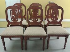 6 dining chairs,Mahogany,carved back,cushion not clean,stable,no carver