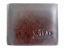 New Brown Leather Men's Small Slim Wallet Credit Card ID Holder by Always Wild