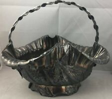 Antique Simpson Hall & Miller Silverplate Brides Basket Figural Bee Bird 9.5""