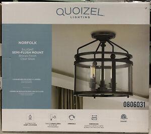Quoizel Norfolk 11.87-in W Oil rubbed bronze Clear Glass Semi-Flush Mount Light
