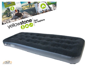 Yellowstone Deluxe Single Flock Airbed with Internal Built in Foot Pump Camping