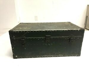 Vintage ALUMINUM FOOT LOCKER military trunk chest green storage box US AIR FORCE
