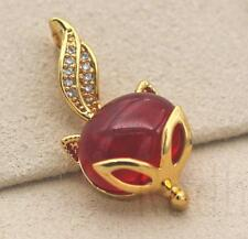 18K Gold Filled - Big Oval Garnet Zircon Fox Head Swil Tail Lady Pendant Gift