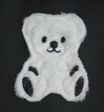 TEDDY BEAR PLUSH FURRY FLUFFY 9cm Embroidered Sew On Cloth Patch Badge Applique