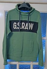 GENUINE G-STAR RAW Hoodie Sports Sweater Jumper Size UK Medium - Green and Black