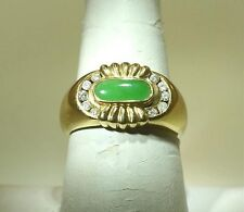 SOLID 18K YELLOW GOLD 4MMX10MM 0.62CTS NATURAL GREEN JADE 0.22CTS DIAMOND RING