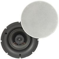 "Pair of - 5.25"" 8 OHM Low Profile Ceiling Speakers - 2 Way Wall Mount Slim Line"
