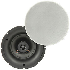 "Pair of - 5.25"" 8 OHM Low Profile Ceiling Speakers - 2 Way Wall Mount Slim Line"