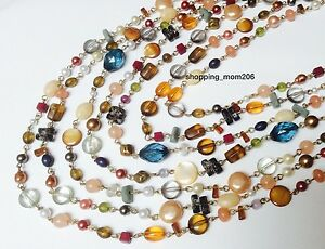 "Lia Sophia ""Ensenada"" Mother of Pearls, Cat's Eye, Glass & Resin Beads Necklace"