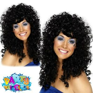 Adults Black Boogie Babe Wig 60s 70s 80s Cher Fancy Dress Costume Ladies Womens