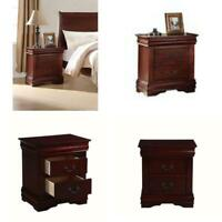 Nightstand Bedside End Table 2-Drawer Pine Wood Side Home Bed Room Cherry