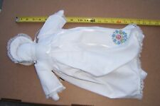 Amish Woman Rag Doll Dressed In White With Floral Embroidery,bonnet Faceless 20""
