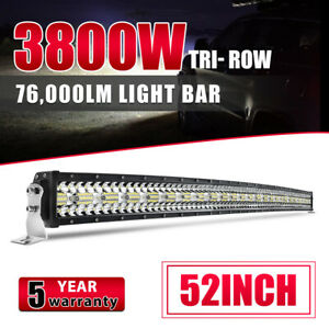 """52"""" INCH Curved 3800W 12D Tri-Row LED LIGHT BAR Spot Flood COMBO DRIVING SUV 4WD"""