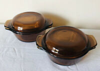 2 Fire King Anchor Hocking Bowls w/ Lids Ramekin Custard Dessert Amber Glass