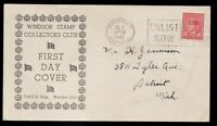 1942 #251 3c KGVI FDC, Windsor Stamp Collectors Club Cachet / Slogan cancel