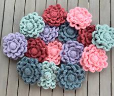 "New listing Hand-Crocheted 5"" Flower Applique Motif Embellishment Set of 3"