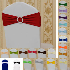 Spandex Stretch Tie Chair Band Sash Wedding Party Cover Cloth Buckle Bow Slider