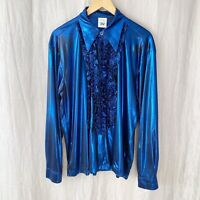 *VINTAGE* Blue Slinky Disco Retro Oversized SIZE 16 UK Long Sleeve Blouse V1