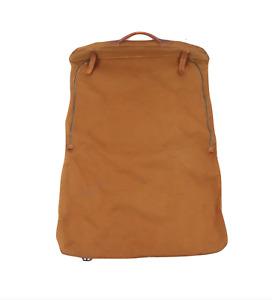 Vintage 70s Canvas Leather Handled Bi Fold Hanging Garment Bag Duck Brown USA