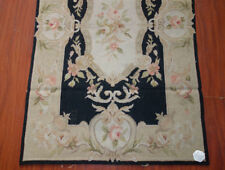 2.5' X 4' French Aubusson Design Needlepoint Area Rug Vintage Beige Black