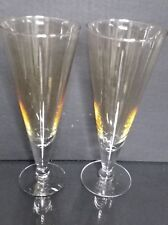 2 VINTAGE Simon Pearce CRYSTAL CHAMPAGNE / WATER STEMLESS  GLASSES