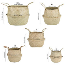 Seagrass Wickerwork Basket Rattan Hanging Flower Pot Laundry Hamper Home Storage