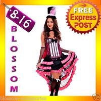 J41 BURLESQUE Dancer Ladies SALOON Paris Showgirl Fancy Dress Costume+ Hat