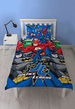 Justice League Inception Single Duvet Cover Set Kids Boys Bedding 2 Designs in 1