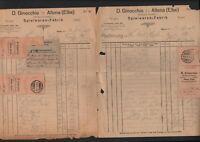 ALTONA, 4 x Rechnung 1922, D. Ginocchio Spielwaren-Fabrik