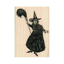NEW Wicked Witch With Broom RUBBER STAMP, Wizard of Oz Stamp, Halloween Stamp