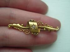 Antique Victorian Hallmarked 15ct Gold & Diamond Set Brooch c1900 (2.6g)