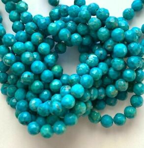 """16"""" Strand Genuine Faceted Turquoise Beads - 6mm Round - Great Colors !"""