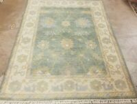 *6'x4' HAND-KNOTTED TURKISH OUSHAK PISHAWAR DESIGN MUTED GREEN  FINE WOOL RUG