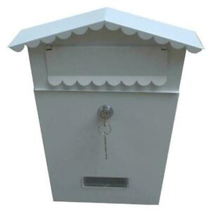 Lockable white Outside Letterbox Letter Post Mall Box Postbox  Kit Wall Mounted
