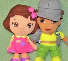 DORA and DIEGO PLUSH DOLLS Stuffed Fisher Price Mattel Nanco Toy Pair First Doll
