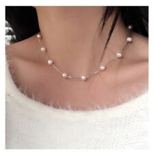 Noble Women Jewelry Pendant 925 Silver Pearl Choker Chunky Chain Bib Necklace