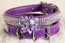 Bling Rhinestone Dog Pet Cat Puppy Genuine Leather Collar Crystal Diamond NOT PU
