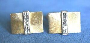 SIGNED AB Vintage 14K Gold Emerald Cut DIAMOND Modernist Cufflinks 12 Grams 14Kt