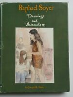 SIGNED Raphael SOYER Drawing and Watercolors Hardcover BOOK 1968 HC/DJ