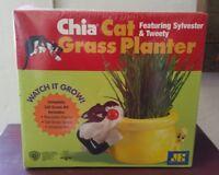 Chia Cat Grass Planter Sylvester & Tweety Bird Looney Tunes Warner Bros NIB 2002