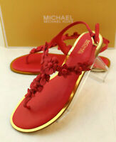 New MICHAEL KORS Deep Pink Size 9.5 M Tricia Womens T-Strap Sandals RETAIL $125