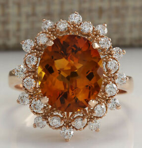 4.85 Carat Natural Citrine 14K Rose Gold Diamond Ring