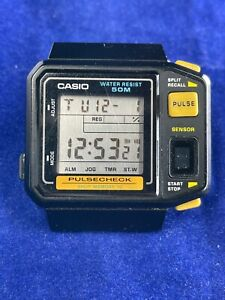 Casio Vintage 80's Pulsecheck digital watch - working JP-100W Japan