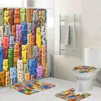 Badezimmer Duschvorhang Bunt Katze Wasserfest Toilette Matte Teppich 12 Hoo