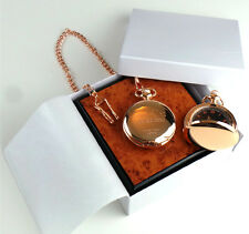 GOODFELLAS 18k Rose Gold Clad Pocket Watch Case Luxury Wood Collectors Set