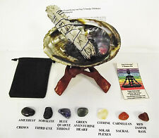 """SMUDGE KIT CHAKRA WITH LARGE ABALONE SHELL 6"""" STAND SAGE AND 7 CHAKRA CRYSTALS"""