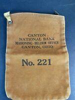 Vintage Money Currency Cash Bag Canvas Safety Deposit Canton National Bank Ohio