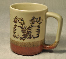 """""""CATS"""" Earthenware Coffee Cup Mug 3 Tone & Textured!   CAT LOVERS!!!"""