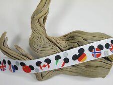 "BTY 1"" Printed Disney's EPCOT Mickey Grosgrain Ribbon Hair Bow Scrapbook Lisa"